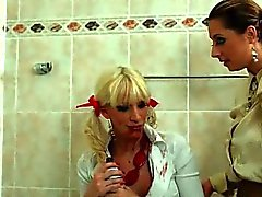 Horny chicks cleaning themselves with lots of wet water