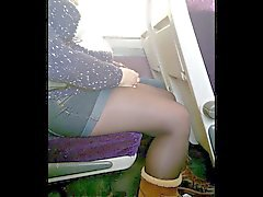 Candid Shorts and Tights or Pantyhose On the Train