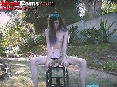 Petite Teenager Rides Chair Dildo Outside