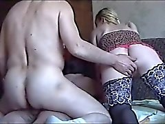 russian girl in stocking and old man