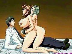 Anime trio with tranny
