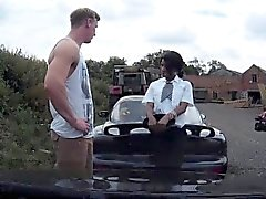 Black british cop spitroasted outdoors in mmf