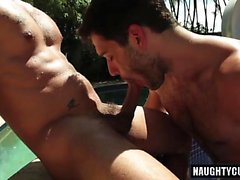 Latin gay outdoor with facial