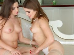 Lesbian scene with Evalina Darling and Diana Dolce by