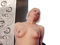 German blonde chick with great tits loves having fun with