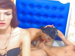 Transsexual and Boy Fuck Whilst One Ladyboy Masturbates