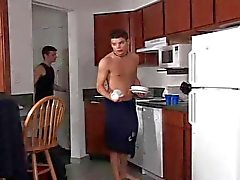 Twinks barebacking in the kitchen with sweet creamy kiss.