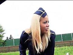 Stewardess battezzare martellato di sborra pubblici e il il culo i