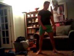 Str8 Guys Juste Wrestle in Underwear, One Guy Balls Pop Out