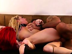 Redhead babe facefucked in taboo threeway