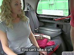 Busty British blonde fucking in a taxi