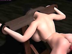 Animated bitch gets pounded with huge dildo