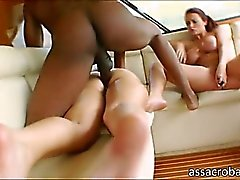 Delilah Strong and Sophie Dee take turns anal banged