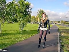 Jeny Smith fashion pantyhose public flashing