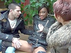 Cute ebony Imane's first gangbang