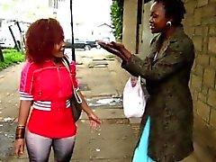Horny Afrikkalainen sluts Kuumat Lesbo Action