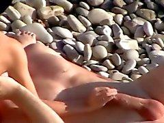 Voyeur о общественного пляжа . Мастурбация а Оральный