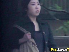 Asian teens pee on cam