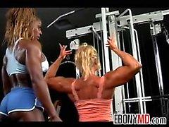 Lesbian Bodybuilders Flex At The Gym
