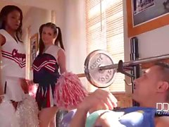 Fitness girls fucked in cheerleader outfits
