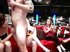 Clothed party hoes suck and tug