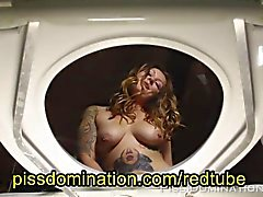 Blonde Tattooed Girl Piss POV