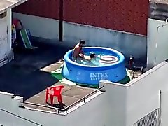 Sexy Rooftop Couple Interrupted In Plastic Pool