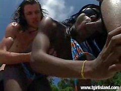 Graicy Ohara, Allan Marcelo and Alex Junior - Tgirl Island
