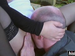 Sexy babe has fun with a dick outdoors