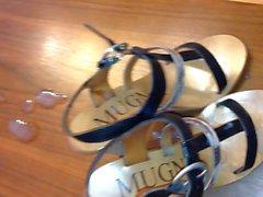 Wife's strappy Italian heels get a big load