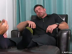 Freaky homosexual feasts on inked hunk juicy feet and toes