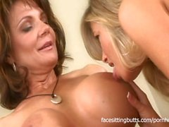 Busty lesbian cougars go all out while pleasuring each other