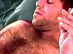 Mature hairy dude Sam solo plays before a nice cock sucking