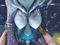 3D assustador do Menina estrangeira Passeios Dick Human !