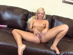 Cute blonde Aaliyah Love goes live to toy and finger her snatch