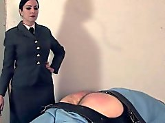 Prodomme warden caning restrained subs ass