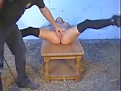 Legs pulled open by rope for pussy spanking WF