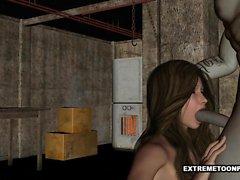 3D Babe saugt Hahn und wird von einem Zombie Clown gefickt