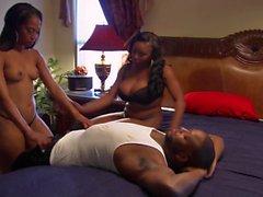 Черная пар а дамы трехходовый в постели
