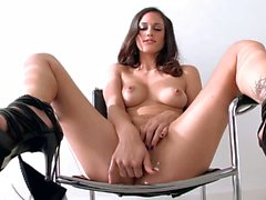 Leggy Brunette Tiffany Thompson in black shoes