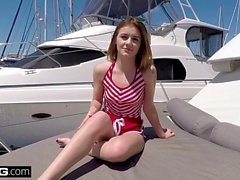 Bisex and barely legal teen Rosalyn Sphinx fucked on a boat