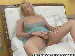 Horny blonde tranny teasing the camera