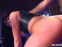 Very raw fucking of a brunette with a dungeon feel