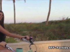 BFFs beach bikers foursome