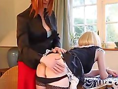 Naughty blonde CD maid has tight pert ass spanked as kinky punishment for smoking