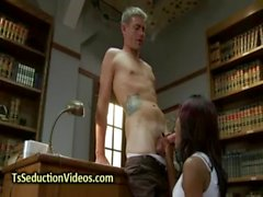 Black tranny in pantyhose fucks student