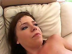 Busty brunette gets a dick up her ass pumping her hard and deep