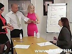 Office guy stripped by CFNM British women