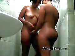 Большой черный грелка лесбиянки получает pleasef путем горячего Африканский по системе Брайля