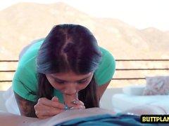 Asian teen ball licking with facial